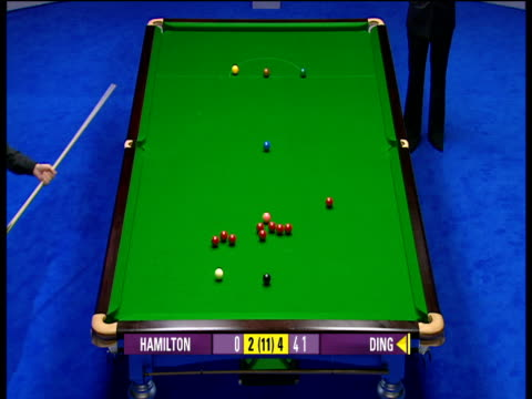 Ding Junhui plays nice shot off black to open up group of reds as he builds 147 break against Anthony Hamilton The Masters Wild Card Round Wembley...