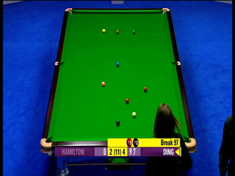 Ding Junhui pots excellent long red and screws back for black to bring up century break on his way to 147 The Masters Wild Card Round Wembley...