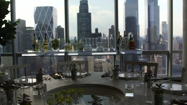 stockvideo's en b-roll-footage met dining room area at one57 condominium residences in new york, ny, u.s., on september 3, 2014 . shots of: wide shots and close ups of a dining area at... - dining room