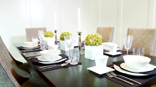 dining room set for a dinner party - dining room stock videos & royalty-free footage