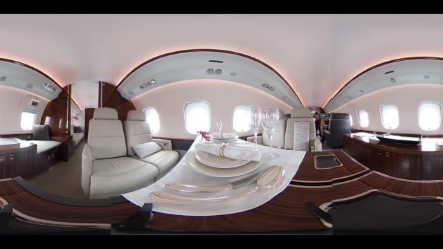 Video was created as an Equirectangular Panorama Import video into a panoramic player to create an interactive 360 degree view A dining table and...