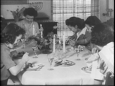 dining table filled with food / group of women picking grass / women picking flowers / women picking geraniums / woman digging up a plant bulb /... - batter food stock videos & royalty-free footage