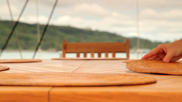 dining table on a luxury yacht - setting the table stock videos & royalty-free footage