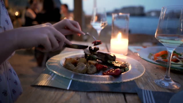 dining with a view - greece stock videos & royalty-free footage
