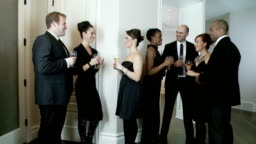 Dinner guests enjoy party