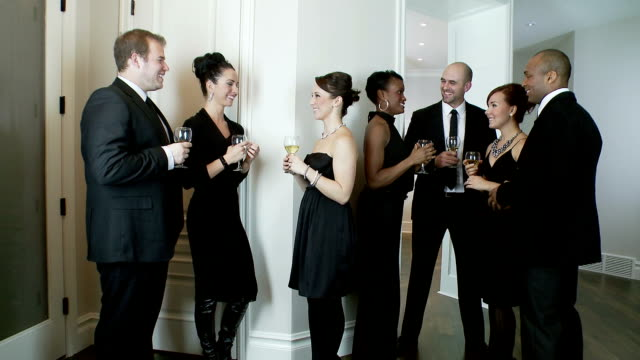 dinner guests enjoy party - formal stock videos & royalty-free footage
