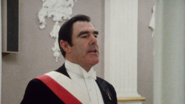 1985 montage dinner guests including the lord mayor of london making formal entrance to banquet / city of london, england - mayor stock videos & royalty-free footage