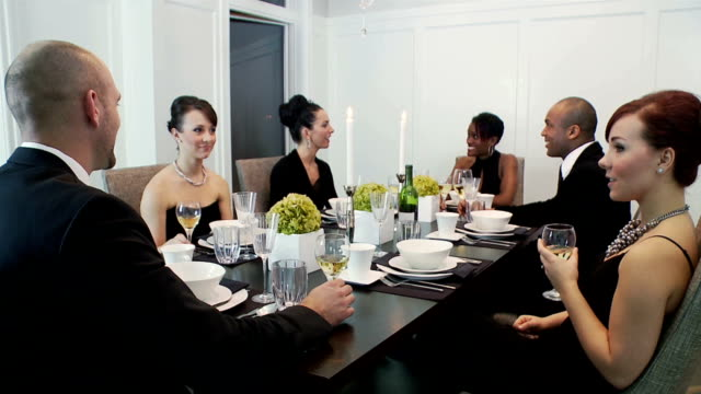 dinner party with friends - formal stock videos & royalty-free footage