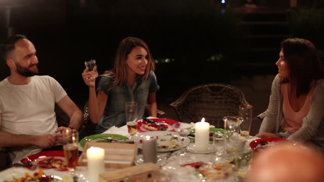 dinner party with friends - evening meal stock videos and b-roll footage