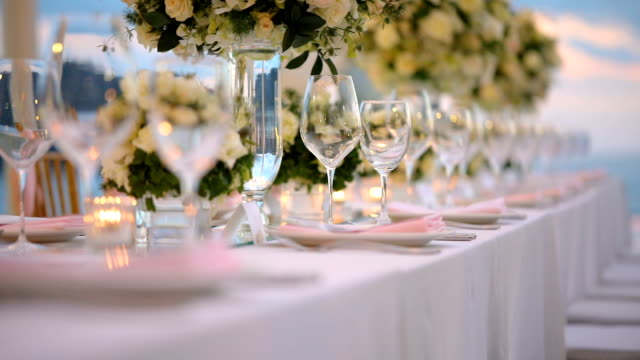 dinner table setting at wedding reception. - drinking glass stock videos & royalty-free footage