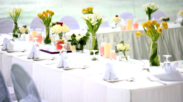 dinner table setting at wedding reception. - guest stock videos & royalty-free footage