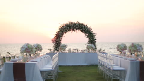 結婚披露宴でのディナーテーブルの設定。 - ハイチ点の映像素材/bロール