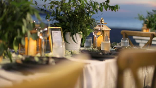 dinner table setting at wedding reception. - order stock videos & royalty-free footage