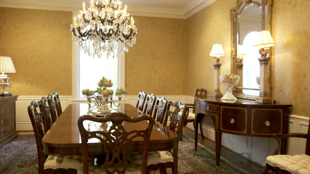 dinning room - stately home stock videos & royalty-free footage