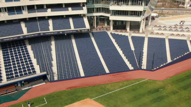 nc dinos baseball team practicing in changwon nc park, gyeongsangnam-do province, south korea - baseball diamond stock videos & royalty-free footage