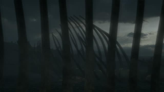 dinosaur bones lie in desolate field beneath a dark sky in a computer generated animation. - dinosaur stock videos & royalty-free footage