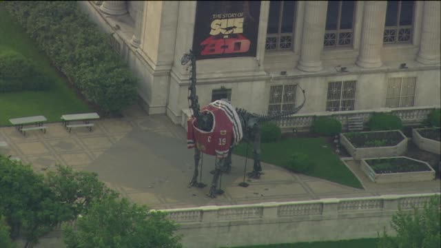 WGN Dinosaur statue in front of the Field Museum in Chicago dons a Chicago Blackhawks jersey Dinosaur Statue Decorated For Stanley Cup Finals on June...