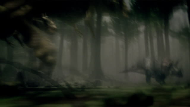 dinosaurs battle in a forest: a tyrannosaurus investigates a dinosaur hatchling. - tyrannosaurus rex stock videos and b-roll footage