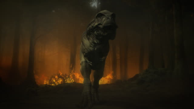 dinosaurs flee a forest fire in a computer generated animation. - triceratops stock videos and b-roll footage