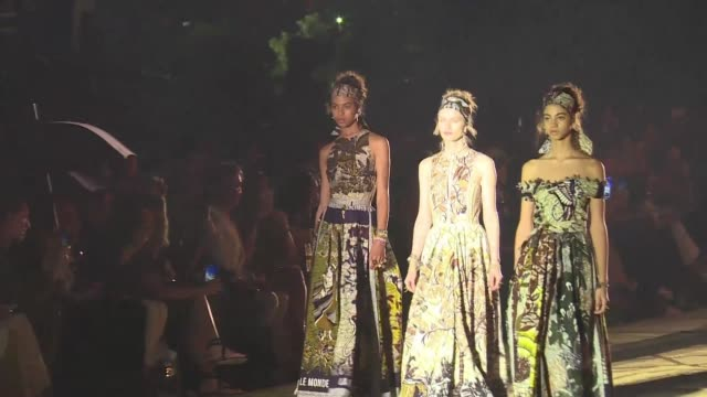 dior italian fashion designer maria chiuri presents in marrakech the brand's cruise 2020 show a collection inspired by african wax fabric - cruise collection stock videos & royalty-free footage