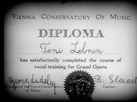 CU, MS, B&W, Diploma hanging on wall, woman packing it into bag and leaving, 1920's