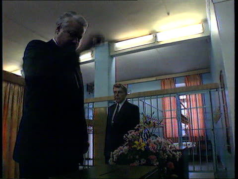 diplomacy and force russian moscow boris yeltsin placing referendum ballot paper into ballot box tcms smiling yeltsin ms people at returning... - diplomacy stock videos and b-roll footage