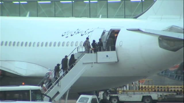diplomatic crisis with the uk deepens england london heathrow airport ext iranian diplomats and their families who have been expelled fron the uk... - tehran stock videos & royalty-free footage