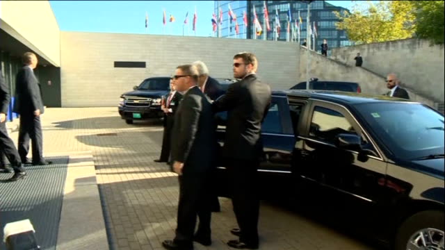 Diplomatic pressure for military action against Assad regime grows LITHUANIA Vilnius US Secretary of State John Kerry from car as arriving to attend...