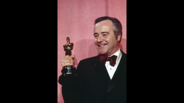 GIF A diptych of March 21 California Hollywood RKO Pantages Theatre Jack Lemmon holding the Academy Award he won for Best Actor in a Supporting Role...