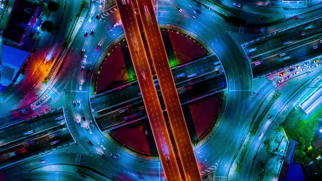 direct above aerial view traffic circle - winding road stock videos & royalty-free footage