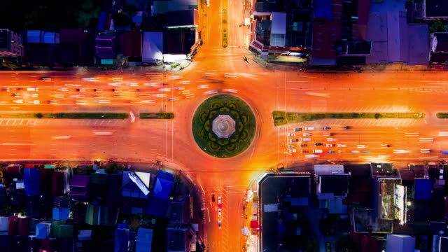 Direct above view of Traffic timelapse
