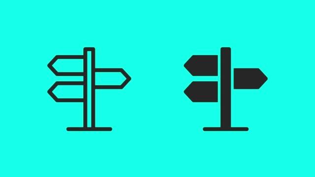 richtung zeichen icons-vector animate - verkehrsschild stock-videos und b-roll-filmmaterial