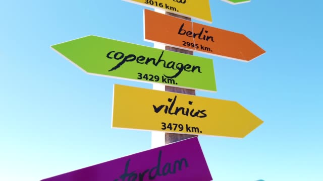 direction signs of touristic european cities - directional sign stock videos & royalty-free footage