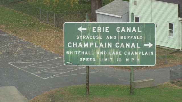 zo directional sign for erie canal and champlain canal / waterford, new york, united states - directional sign stock videos & royalty-free footage