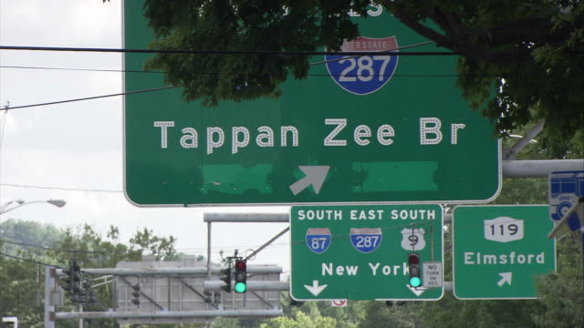 ms directional signs on highway, tappan zee br., new york sign / tarrytown, new york, usa - directional sign stock videos & royalty-free footage