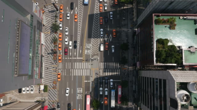 Directly Above Aerial view of car traffic and skyscrapers at Teheranno Street (Korean Silicon Valley)