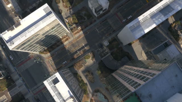 Directly above Aerial view of skyscrapers at Songdo International Business District
