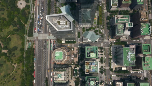 Directly Above Aerial View of skyscrapers at Yeouido financial district (main business and investment banking district in Seoul)