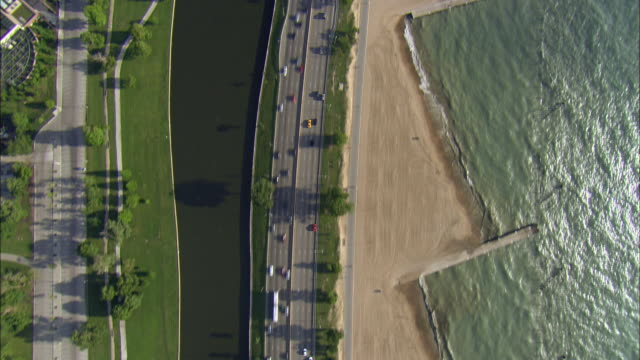 AERIAL, Directly above Lake Shore Drive, Chicago, Illinois, USA