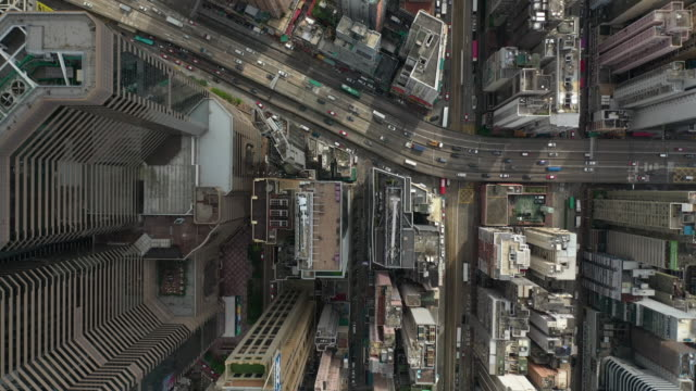 directly above real time of the hong kong city - antenna aerial stock videos & royalty-free footage