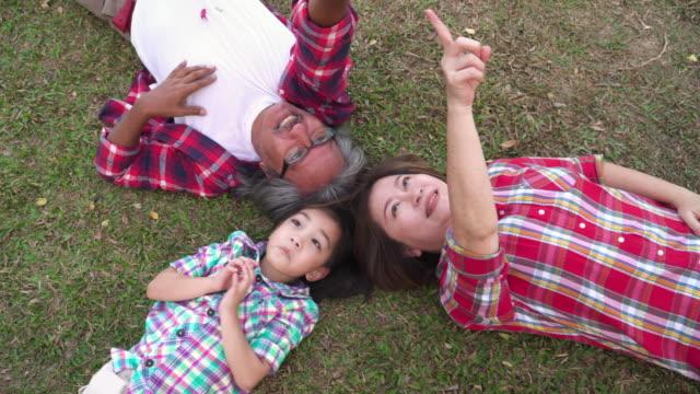 vidéos et rushes de directement au-dessus de la vue: famille multi-générations couché dans l'herbe, y compris grand-père, grand-mère, et petite-fille, passer un happy hour ensemble, pointez de voir sur le ciel. le concept de famille dans les activités du week-end. - rêvasser