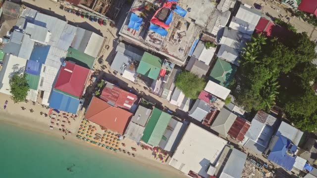 directly above view of el nido town, palawan, philippines - philippines stock videos & royalty-free footage