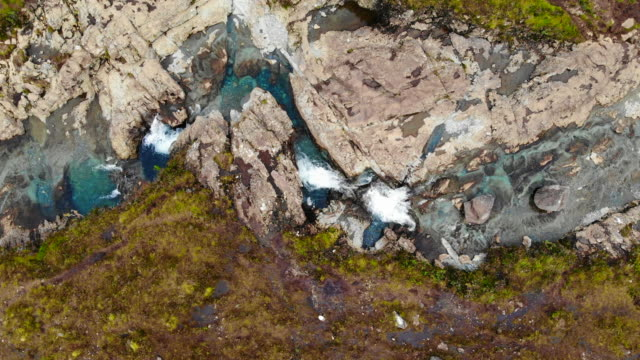 directly above view of the beautiful fairy pools in the isle of skye in scotland. - standing water stock videos & royalty-free footage