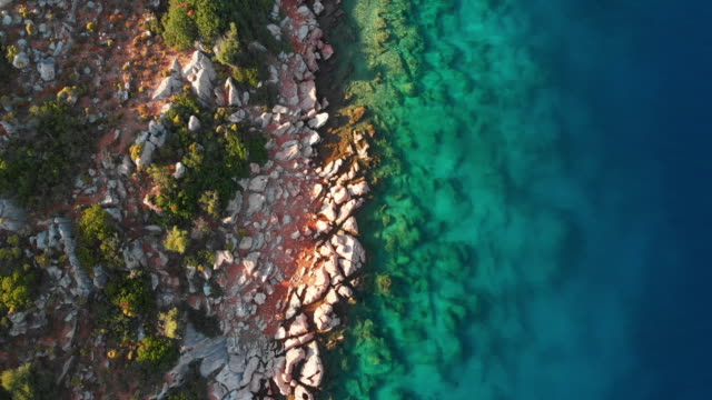 directly above view of vibrant sea and mediterranean coast, turkey - marmaris stock videos & royalty-free footage