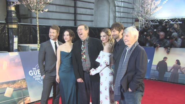 Director and cast at The Guernsey Literary and Potato Peel Pie Society World Premiere at The Curzon Mayfair on April 9 2018 in London England