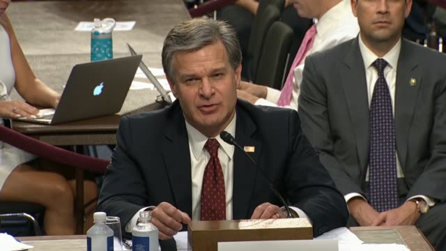 fbi director christopher wray tells the senate judiciary committee in a hearing on the doj and fbi actions in advance of the 2016 presidential... - christopher a. wray stock videos & royalty-free footage