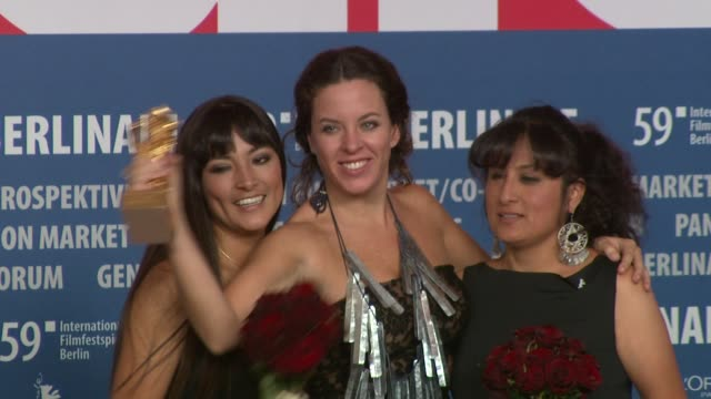 director claudia llosa and cast pose with the golden bear for the best film at the 59th berlin film festival: awards press conference at berlin . - film award type stock videos & royalty-free footage