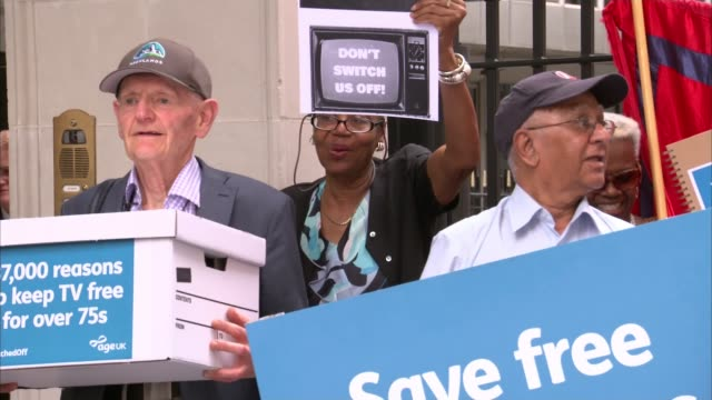 bbc director general lord hall questioned on decision to scrap universal free tv licenses for over 75s england london conservative party headquarters... - chanting stock videos and b-roll footage