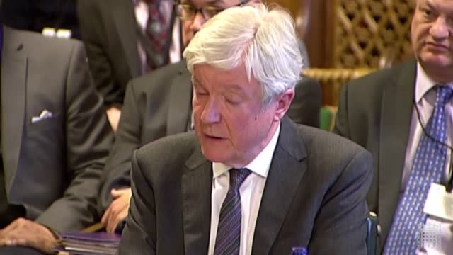bbc director general lord tony hall is asked if he would like to bbc staff over changes in their contracts at the commons public accounts committee - britisches unterhaus stock-videos und b-roll-filmmaterial