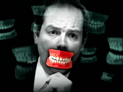 bbc director general mark thomson once bit a newsroom colleague graphicised sequence image of mark thompson with overlay of false teeth london bbc tv... - dentures stock videos and b-roll footage